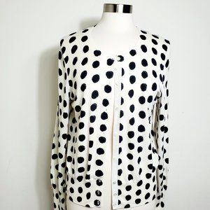 Banana Republic  Cardigan Polka Dot Ivory Black L